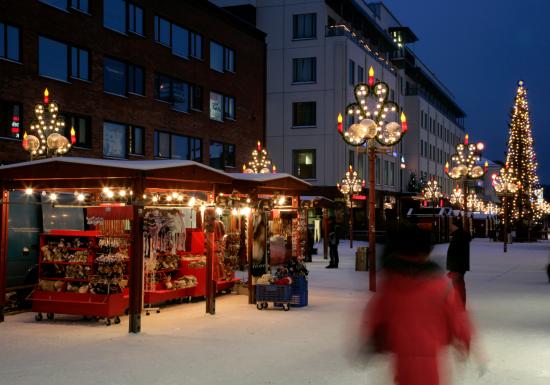 Christmas night markets in downtown Rovaniemi, Finland.