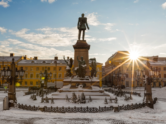 The morning sun in Helsinki Senate Square