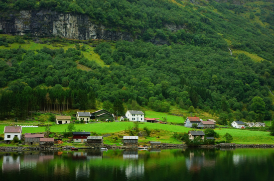 A scenic fjord on a lakes edge in Norway.