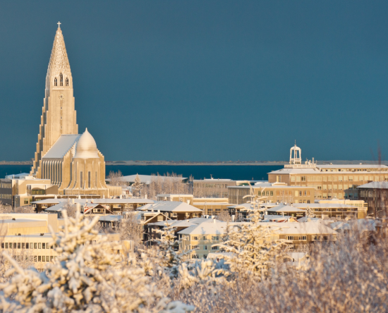 The icy city scape of Reykjavik.