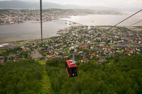From the Tromso Cable Car you will have magnificent city views on the 4 minute ride on this cable car to Storsteinen.  (photo credit Alexander Benjaminsen)