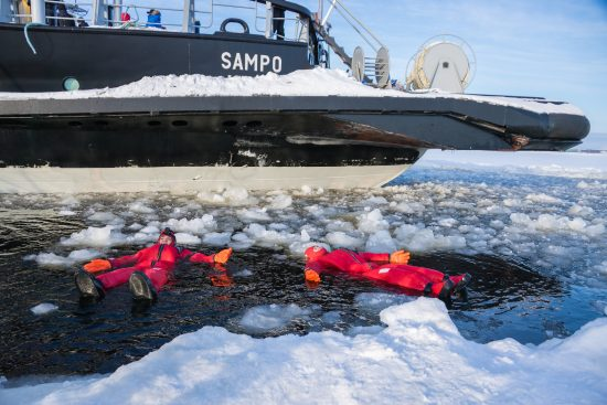 Experience Ice floating on an excursion aboard the Icebreaker Sampo