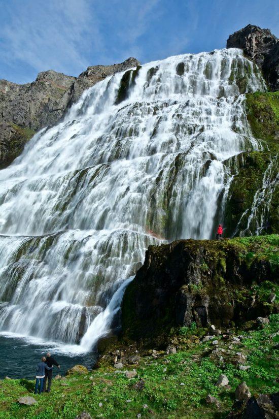 Witness the beauty of Iceland's Dynjandi waterfall in the West Fjords region.