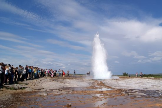 Discover the power of the famous Stokkur geyser located in the active geothermal area of Geysir
