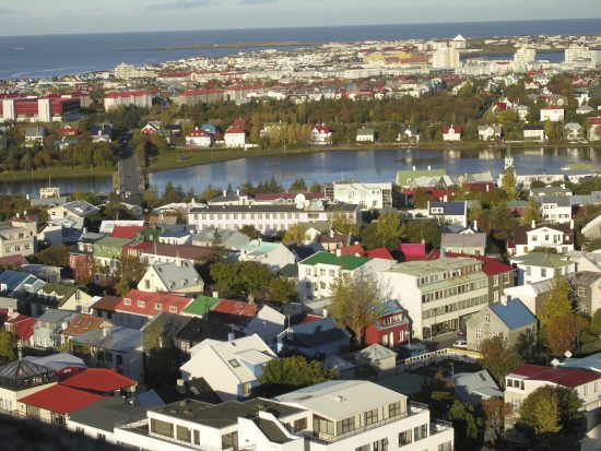 Aerial view of Iceland's charming capital city, Reykjavik
