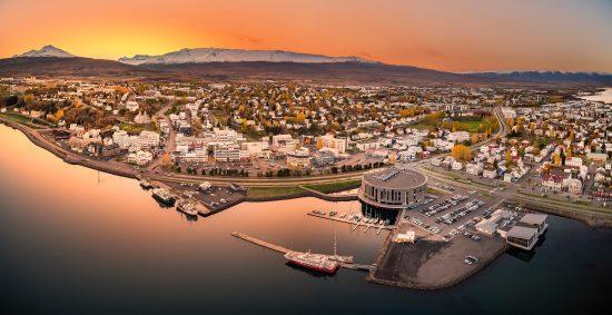 Panoramic sunset view over the charming northern city of Akureyri