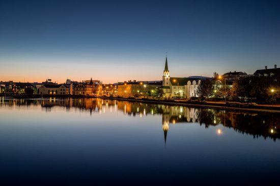 The sparkling evening lights of Reykjavik